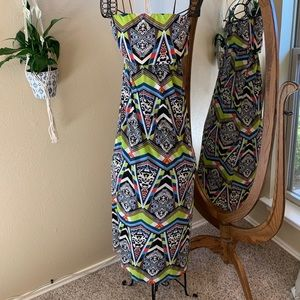 Long, patterned Rue21 strapless dress